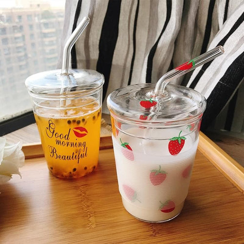 Strawberry Glass Water Cup With Straw SP14883