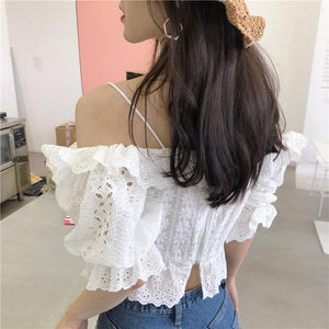 White Floral Crop Top Bandages Shirts SS0287