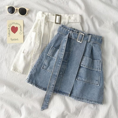 Casual High Waist A-Line Short Denim Jean Skirt SP14907