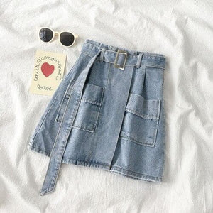 Casual High Waist A-Line Short Denim Jean Skirt SS0299