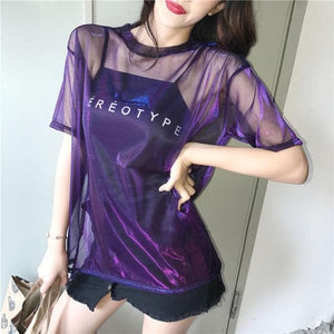 Sexy Transparent T-shirt+Short Sleeve Two Piece Set SP15027