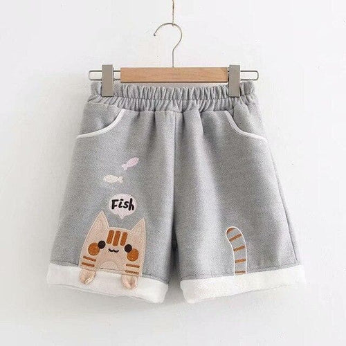 Sweet Cat Eat Fish Elastic Waist Shorts SP14845