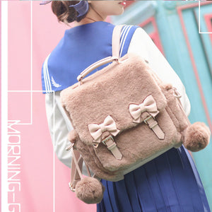Lolita style Kawaii Plush Coral Bowknot Backpack SS0678