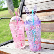 Load image into Gallery viewer, Cute Cherry Blossoms Rabbit Ear Ices Plastic Water Cup SP14853
