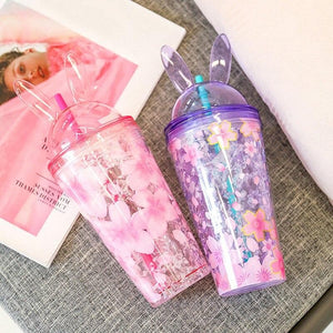Cute Cherry Blossoms Rabbit Ear Ices Plastic Water Cup SP14853