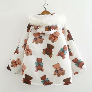 Kawaii Cartoon Bear Print Winter Padded Coat SP15268
