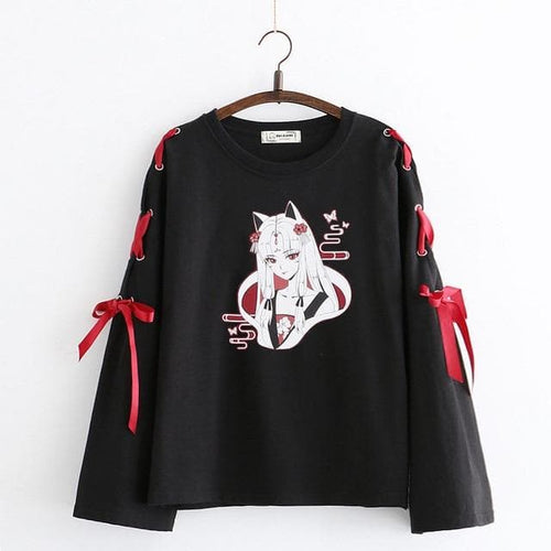 Anime Fox Printed Cross Ribbon Lolita Shirt SP14974