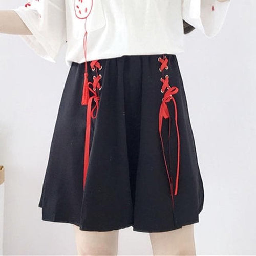 Anime Fox Printed Cross Ribbon Lolita Skirt SP15004