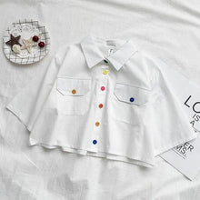 Load image into Gallery viewer, Harajuku Collar Crop Shirt Cute Button Short Blouse SP15088