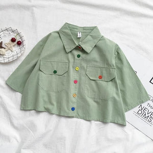 Harajuku Collar Crop Shirt Cute Button Short Blouse SP15088