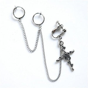 Punk Feathers Cross Chain Clip Earrings SP15147