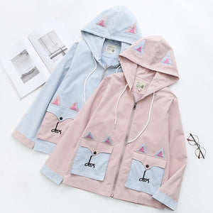Sweet Cartoon Fox Embroidery Zipper Coat SP15081