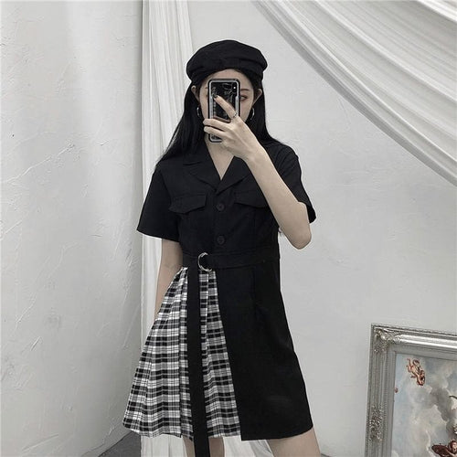 Gothic Black Patchwork Plaid Dress SP14962