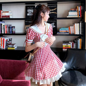 Sweet Red Plaid Vigor Girl Dress SP15002