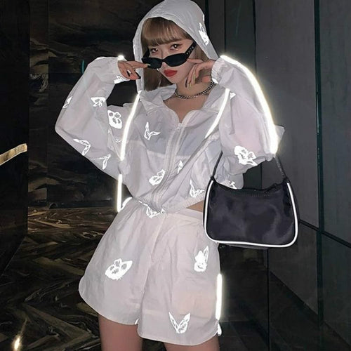 Sexy Hip Hop Loose Butterfly Reflective Sportswear SP14985