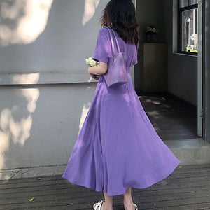 Retro High Waist Skinny Square Collar Chiffon Midi Dress SS0972