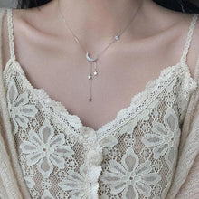 Load image into Gallery viewer, Sweet Silver Color Star Moon Tassel Necklaces SP15480