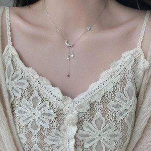 Sweet Silver Color Star Moon Tassel Necklaces SP15480