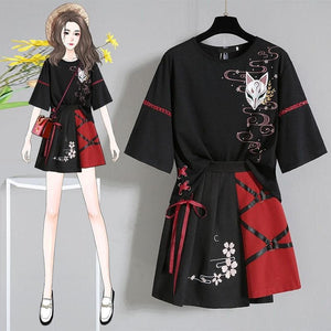 Anime  Red Ribbon Lolita T-shirt Short Skirt Set SP14983