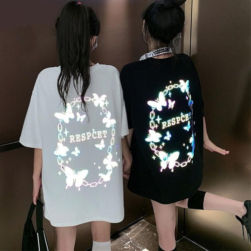 Reflective Butterfly Letters Print Loose Long T-shirt SP14980