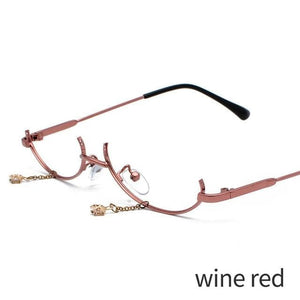 Retro Half Frame Pendant Decorative Metal Glasses SS0383