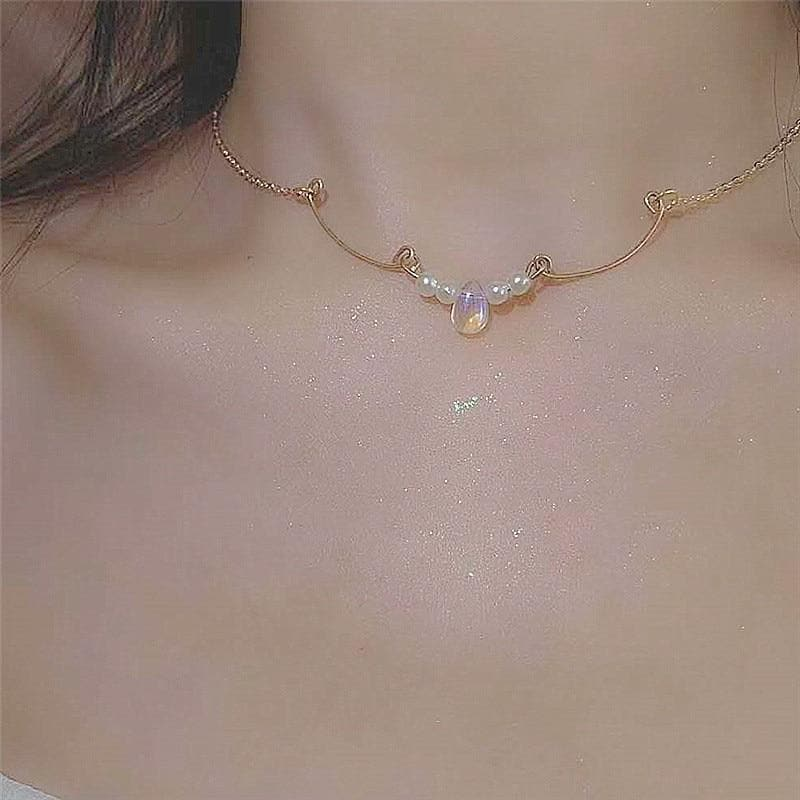 Minimalist Crystal Water Drop Pendant Necklace SP15650