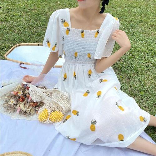Kawaii Embroidery Strawberry/Pineapple Dress SP14999