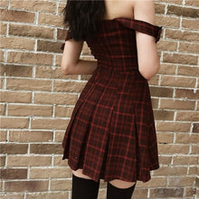 Load image into Gallery viewer, Gothic Sexy Red Plaid Sling Dress SP15016