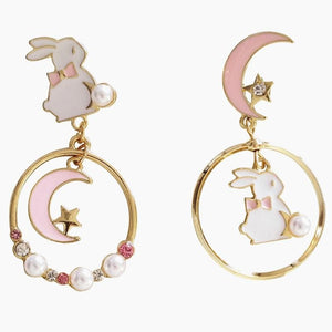 Sweet Cute Moon And Rabbit Pearl Beads Earrings Ear Clip SP15022