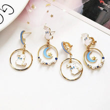 Load image into Gallery viewer, Sweet Cute Moon And Rabbit Pearl Beads Earrings Ear Clip SP15022