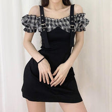 Load image into Gallery viewer, Sexy Black Strapless Little Plaid Bubble Sleeve Shoulder Strap Dress SP15075
