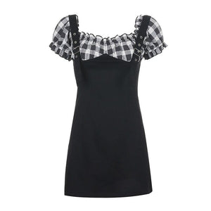 Sexy Black Strapless Little Plaid Bubble Sleeve Shoulder Strap Dress SP15075