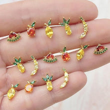 Load image into Gallery viewer, Trendy Simple Cute Color Rhinestones Tropical Fruit Stud Earrings SS0887