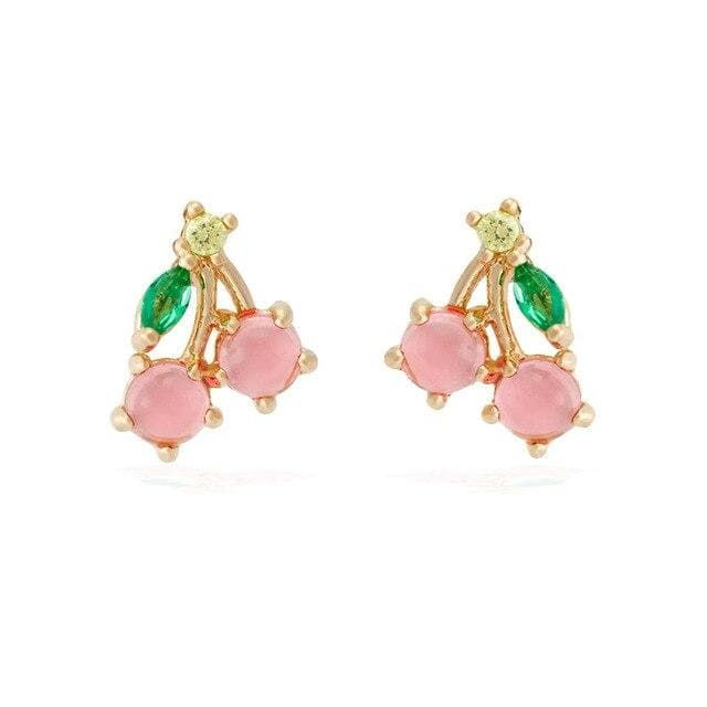 Trendy Simple Cute Color Rhinestones Tropical Fruit Stud Earrings SS0887