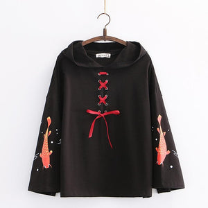 Cartoon Fish Print Lace Up  Flare Sleeve Hooded Pullover SP15123