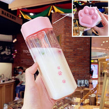 Load image into Gallery viewer, Kawaii Cat Claw Clear Water Bottle SS0450
