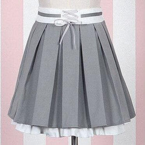 Kawaii Lolita Gray Coat +Gothic Blouse And Skirt Set Suit SP15098