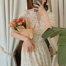 Load image into Gallery viewer, Elegant Vintage Lace Chiffon Puff Sleeve V Neck Floral Dress SP15659