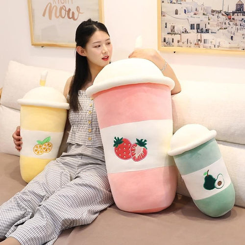 Chic Fruit Milk Bubble Tea Plush Toy Stuffed  Pillow SP15360