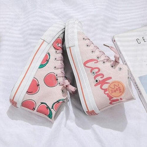 White Pink Peach High-top Canvas Shoes SP15110