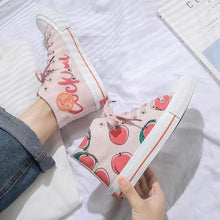 Load image into Gallery viewer, White Pink Peach High-top Canvas Shoes SP15110