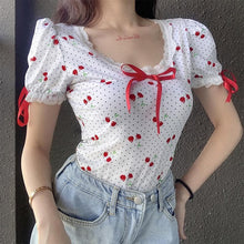 Load image into Gallery viewer, Sweet Cherry  Lace Bow Polka Dot  Short Sleeve Bodysuits SP15113
