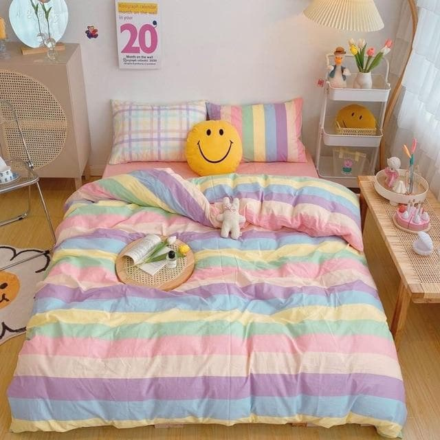 Kawaii Fashion Rainbow Bedding Set SS0487