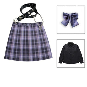 Long/Short Sleeve High Waist Plaid Pleated Skirts JK School Uniform SP15386