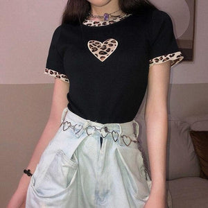 Black Leopard Heart Patchwork Knitting T-Shirt SS0516