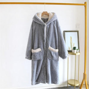 Funny Thickening Cardigan Cartoon Ears Hooded Nightgown SS0728