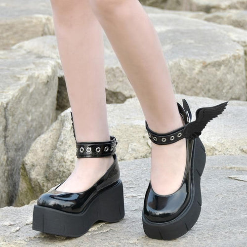 Black Mori Girl Lolita Cosplay Punk Shoes EG0516