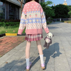 Kawaii Strawberry Printing Long Sleeve Knitting Sweater SP15362
