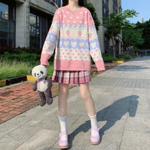 Load image into Gallery viewer, Kawaii Strawberry Printing Long Sleeve Knitting Sweater SP15362