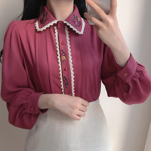 Retro Embroidery Bowknot Single Breasted Button Shirts SP15798